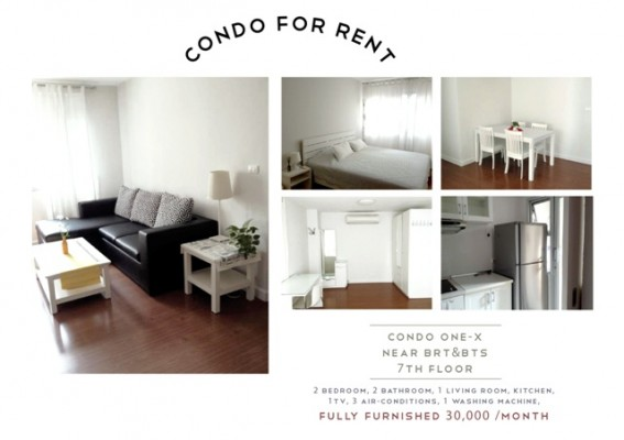 BKKMOVE Agency's 75sqm Spacious, Low Rise Two Bedrooms Apartment to let at Condo One X Naratiwat 24 1
