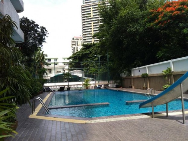 BKKMOVE Agency's 300sqm Nice Three Bedrooms unit has garden view and pool view in big balcony. Apartment to let at Prem Mansion Sukhumvit 12 10