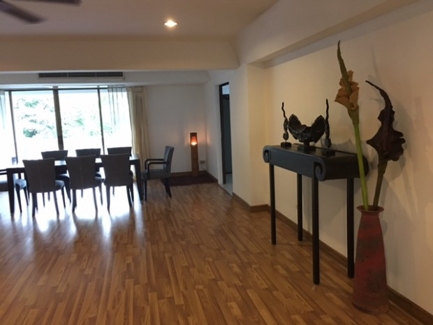 BKKMOVE Agency's 300sqm Nice Three Bedrooms unit has garden view and pool view in big balcony. Apartment to let at Prem Mansion Sukhumvit 12 5
