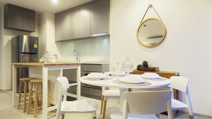 BKKMOVE Agency's Rhythm Sukhumvit 36-38 Brand new Very high floor  great view and openness fully Furnished with all amenities 88 sqm 2 bedroom 2 bathroom for rent well price!! 10