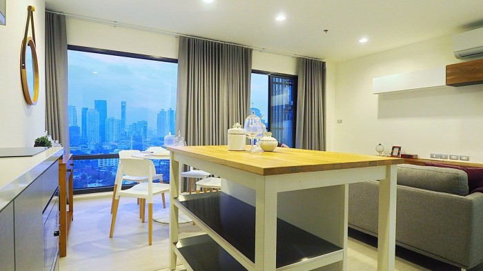 BKKMOVE Agency's Rhythm Sukhumvit 36-38 Brand new Very high floor  great view and openness fully Furnished with all amenities 88 sqm 2 bedroom 2 bathroom for rent well price!! 11